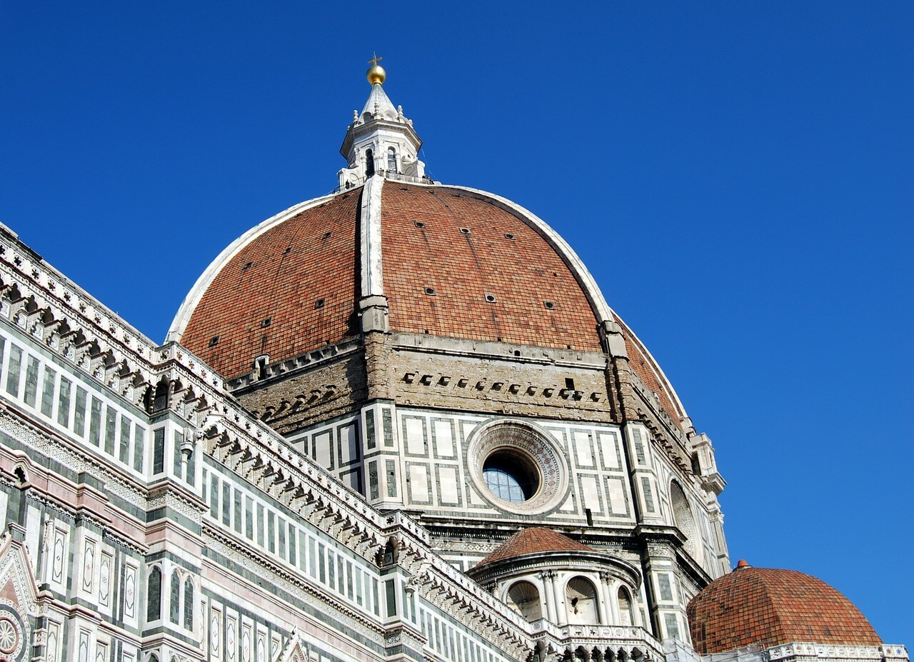Florence Cathedral brown dome with a white facade