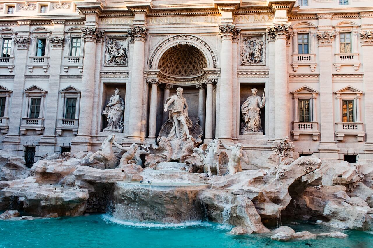 Trevi fountain in Rome. Lots of sculptures in the fountain