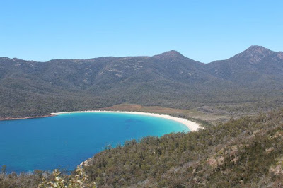 Hiking, Wine Glass Bay, Tasmania, Australia