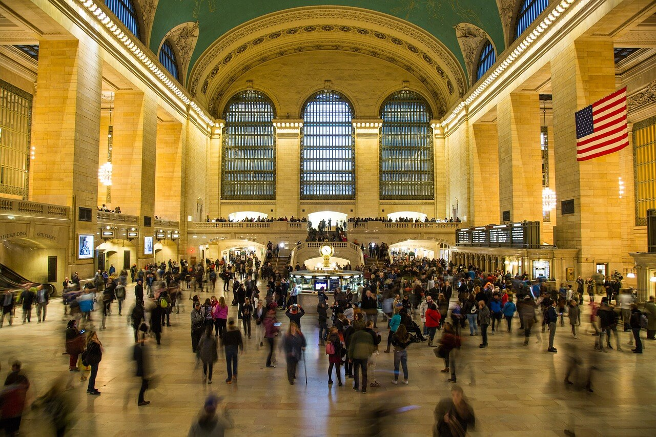 Inside Grand central station in New York. Busy terminal with lots of people