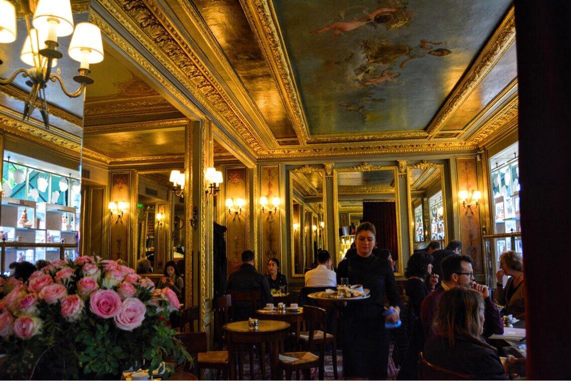 Inside the Laduree, a luxury restaurant in Paris