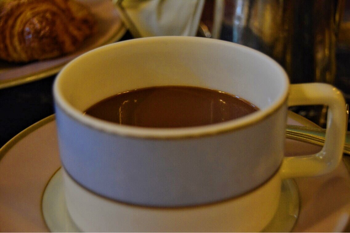A picture of hot chocolate in Laduree, Paris