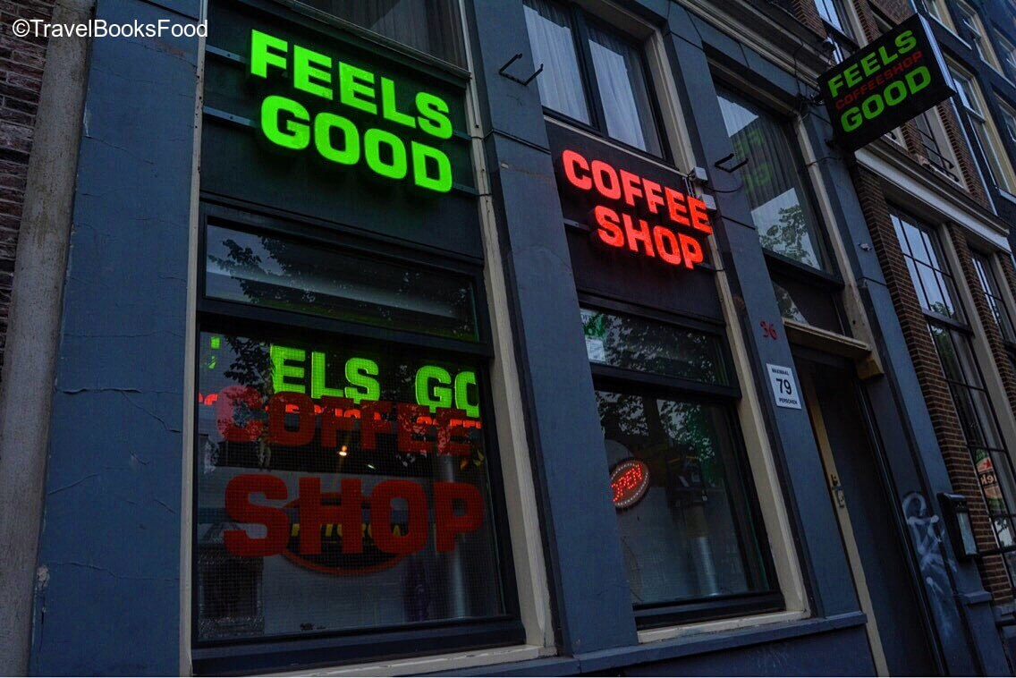 This is the photo of one of the famous coffee shops in Amsterdam which sell weed legally. There is a 'Feels good' signboard