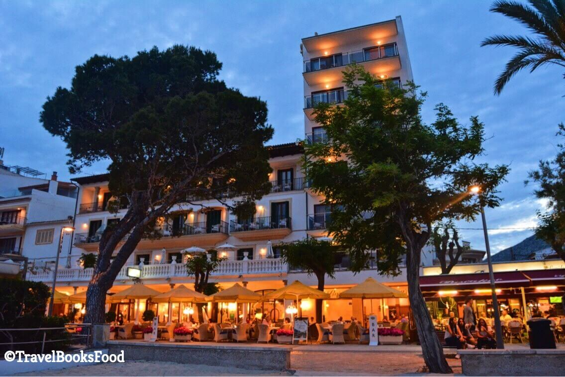 This is a evening shot of Hotel Miramar in Port De Pollenca in Mallorca, Spain.