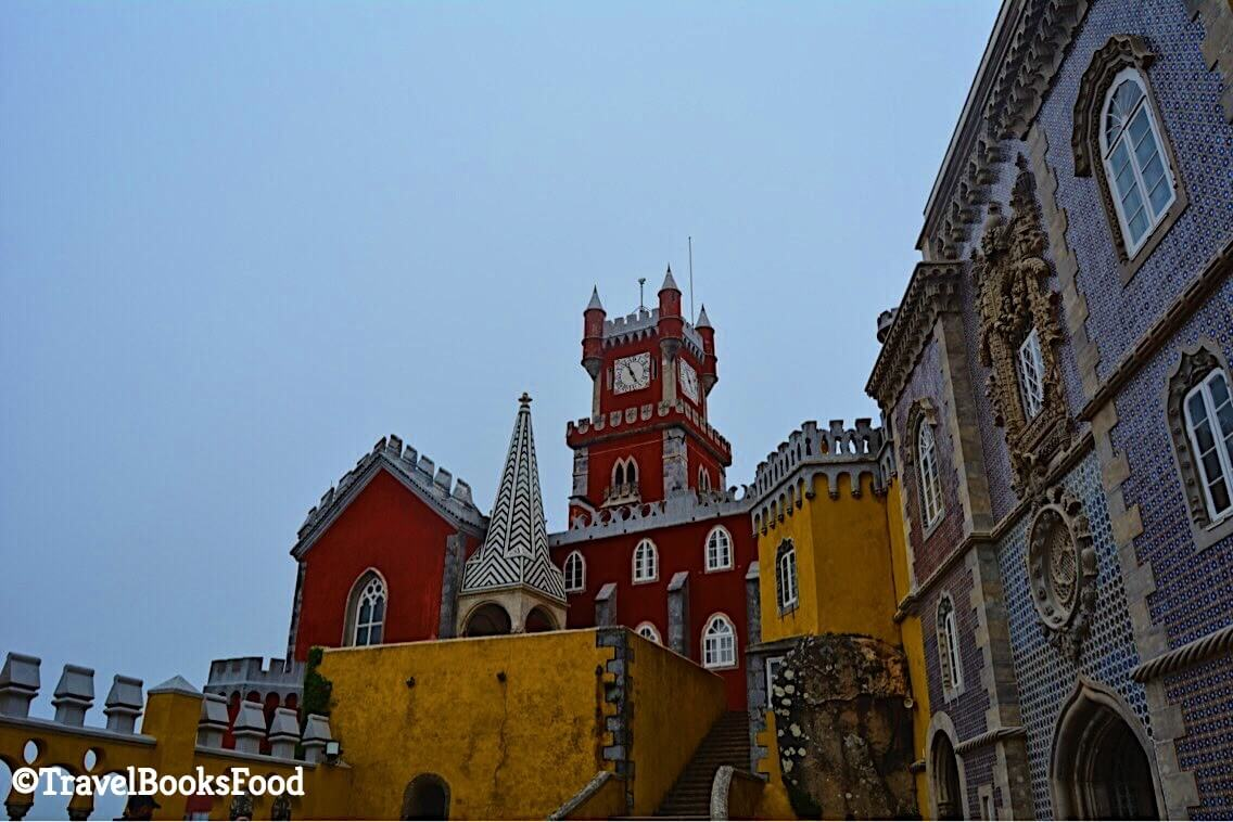This is another view of the Pena Palace. This is red, orange and violet parts of the palace