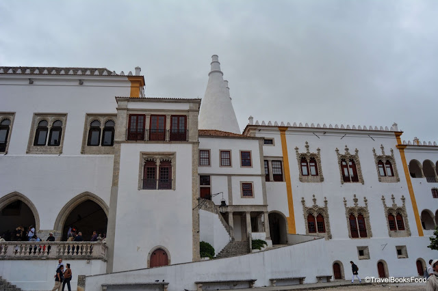 This is one of the palaces in Sintra Portugal. This is white and have conical domes