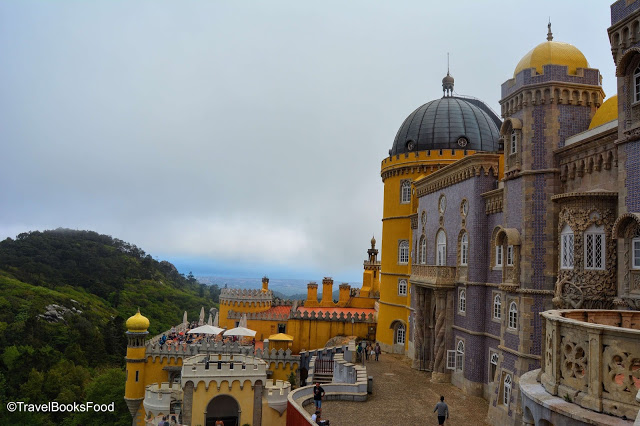 This is the view of the Orange and Violet Pena Palace from inside the palace