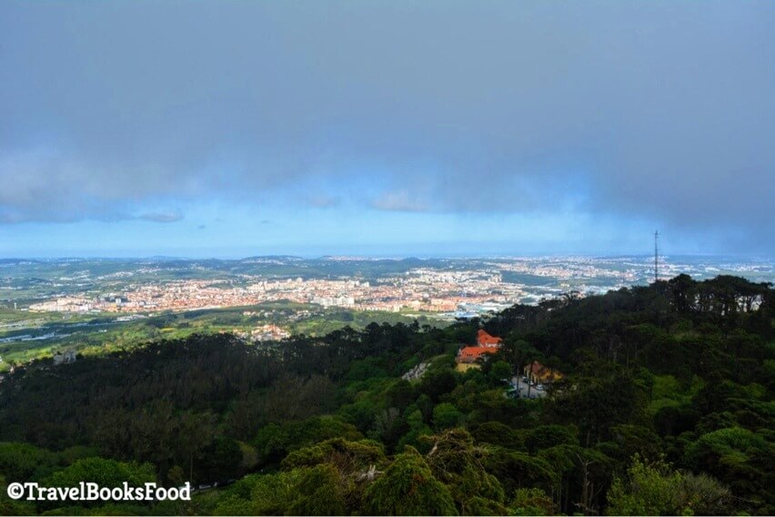 This is the view of a town/city from top of the Pena palace in Sintra