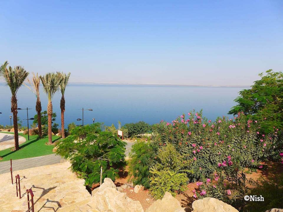 This is a photo of the Dead Sea from a resort in Jordan in the day