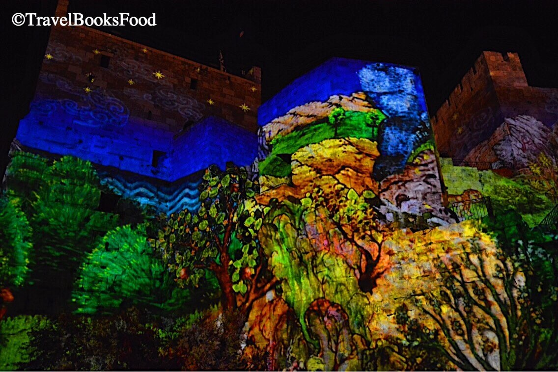 This shot is from the David Night Spectacular tour. The history of Jerusalem is shown through a light and music show on the Tower of David.