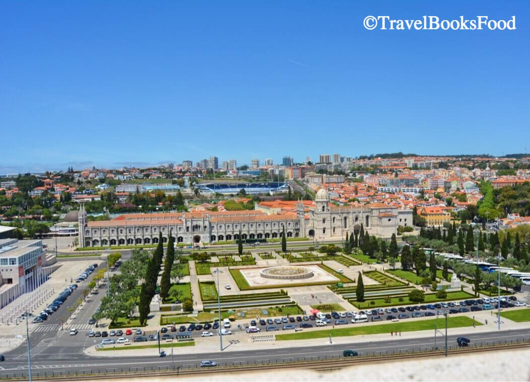 A view of the Jeronimos Monastery in Lisbon from the top of the Age of Discovery Monument