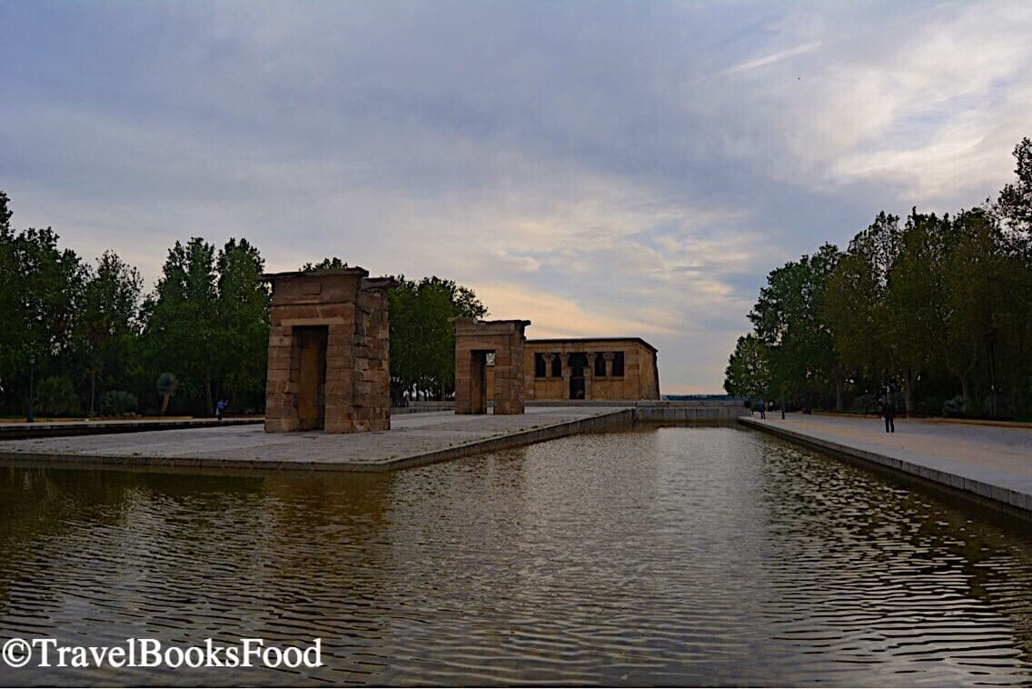 This is the photo of Temple of Debod, a reconstructed Egyptian temple in Madrid just before sunset.