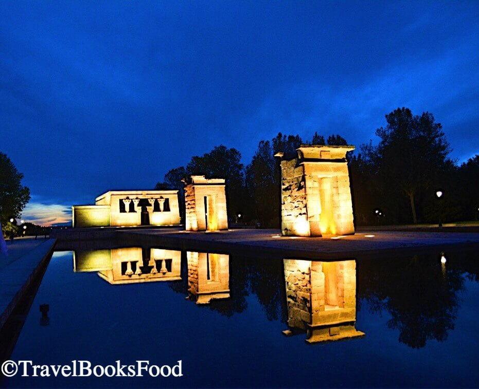 This is the photo of Temple of Debod, a reconstructed Egyptian temple in Madrid just after sunset.