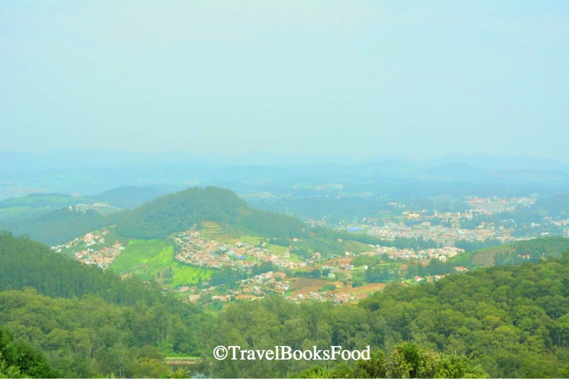 A view of Ooty town from one of the vantage points high up in the hills