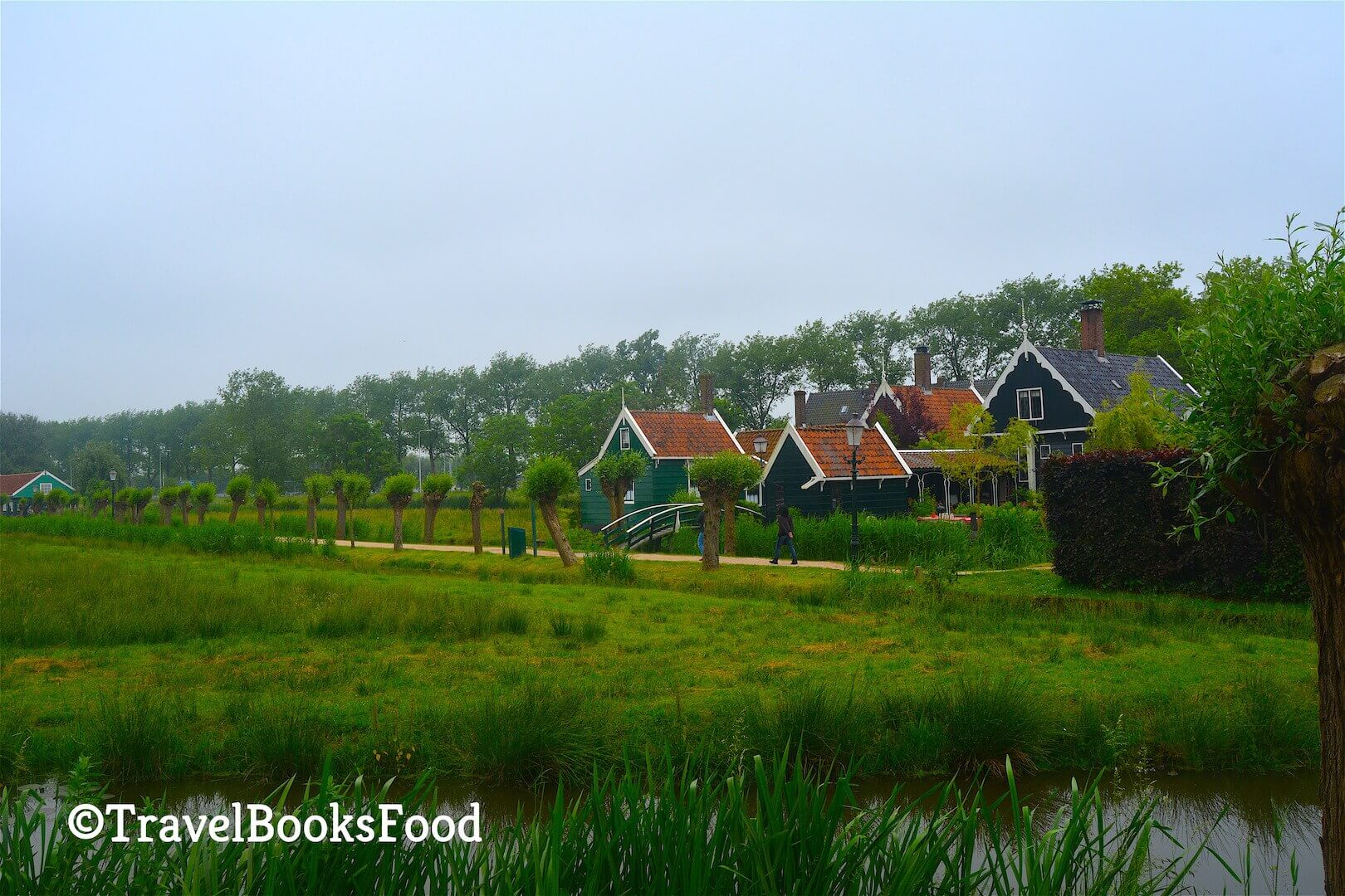 This is a photo of some green houses in Zaanse Schaans in Amsterdam, Netherlands with a large green field in front of it