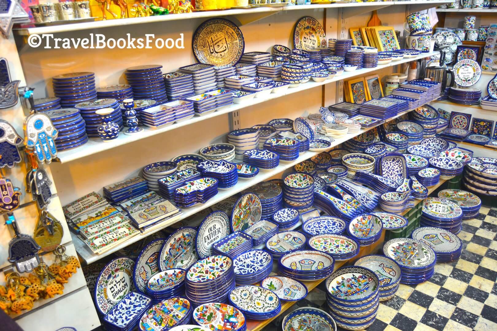 A shop in Jerusalem selling souvenirs and Armenian crockery