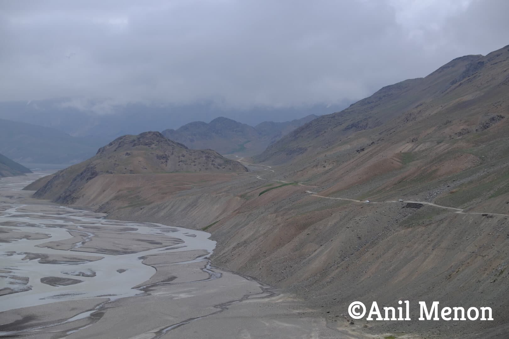 Mountainous range alongside the river in Spiti, India
