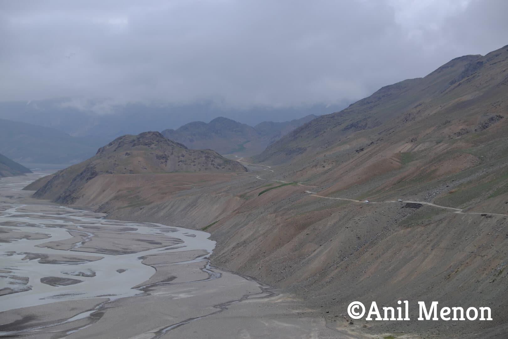 Mountainous range alongside the river in Spiti, India