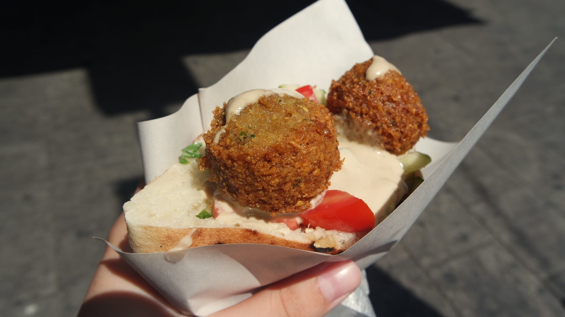 A photo of vegetarian falafel found in Israel