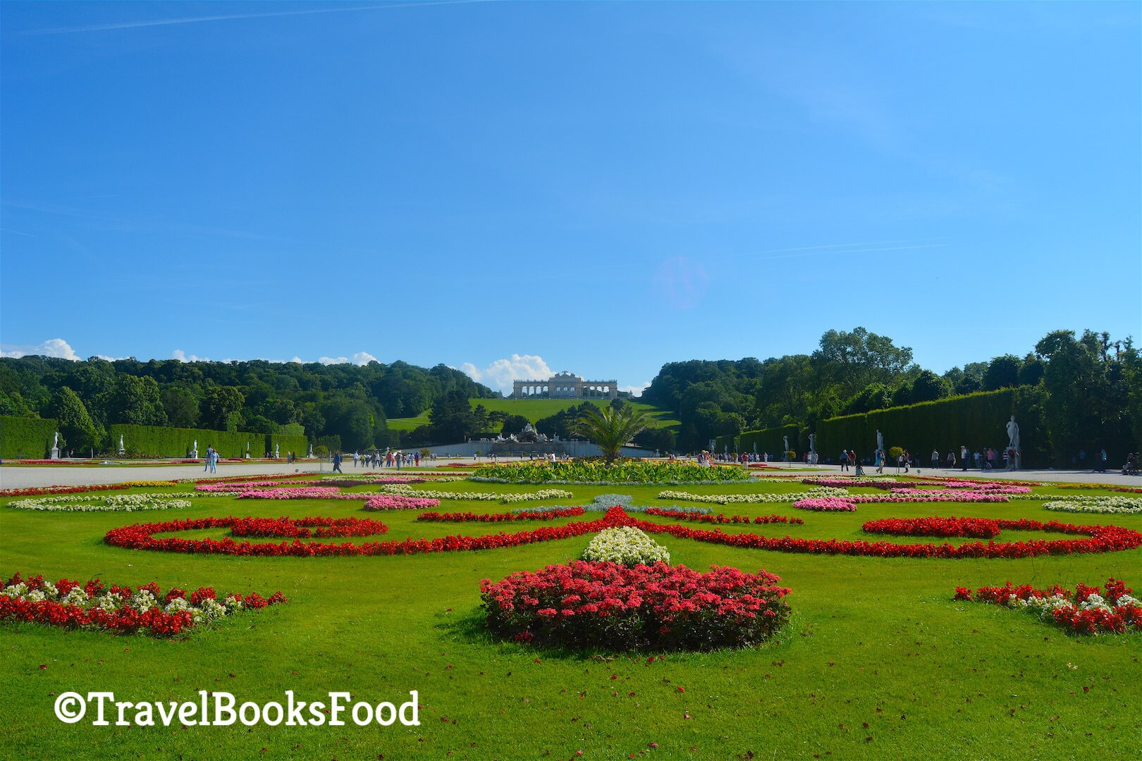 A view of the Gardens in Schonbrunn palace in Vienna with the Gloriette in the distance