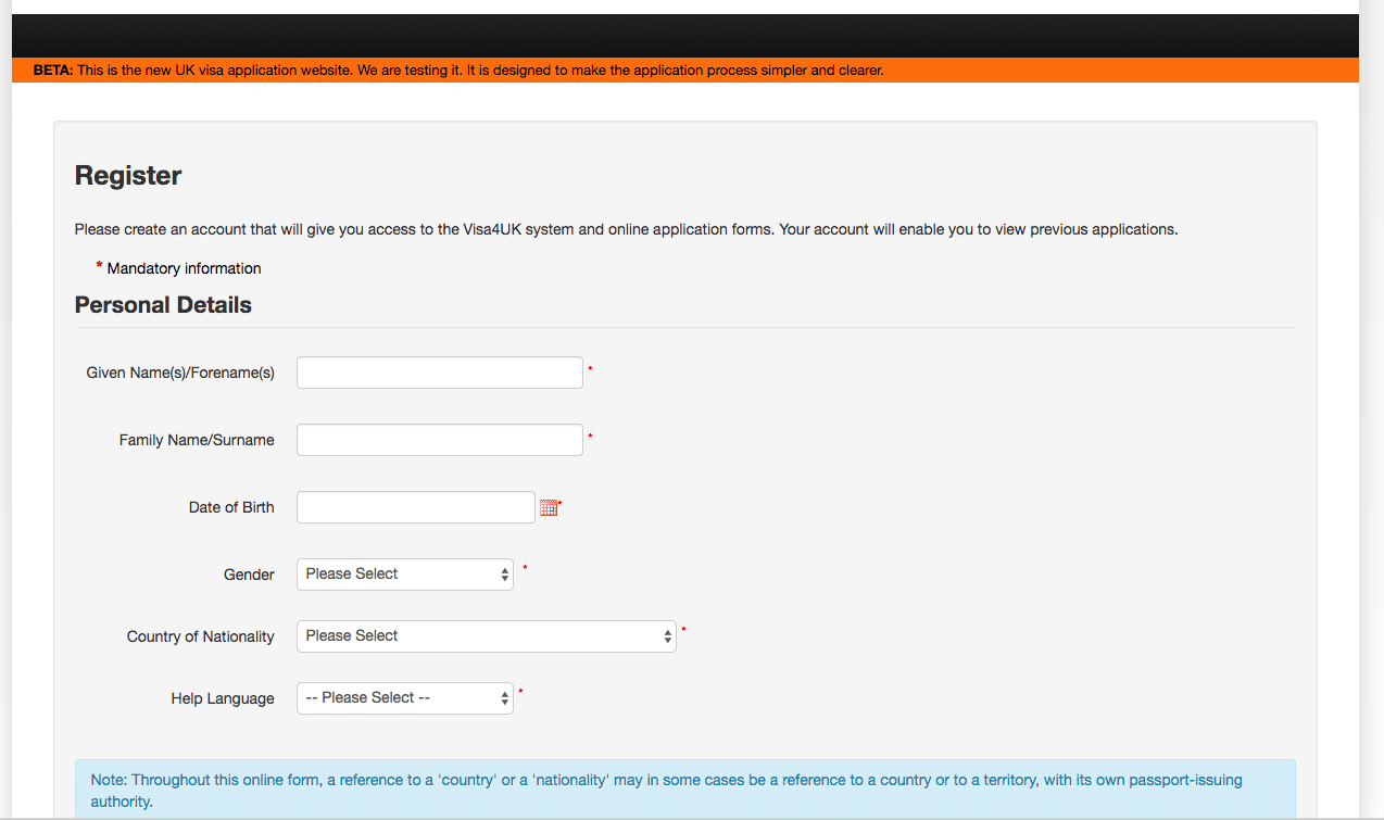 Uk Visa Application Form Screenshot
