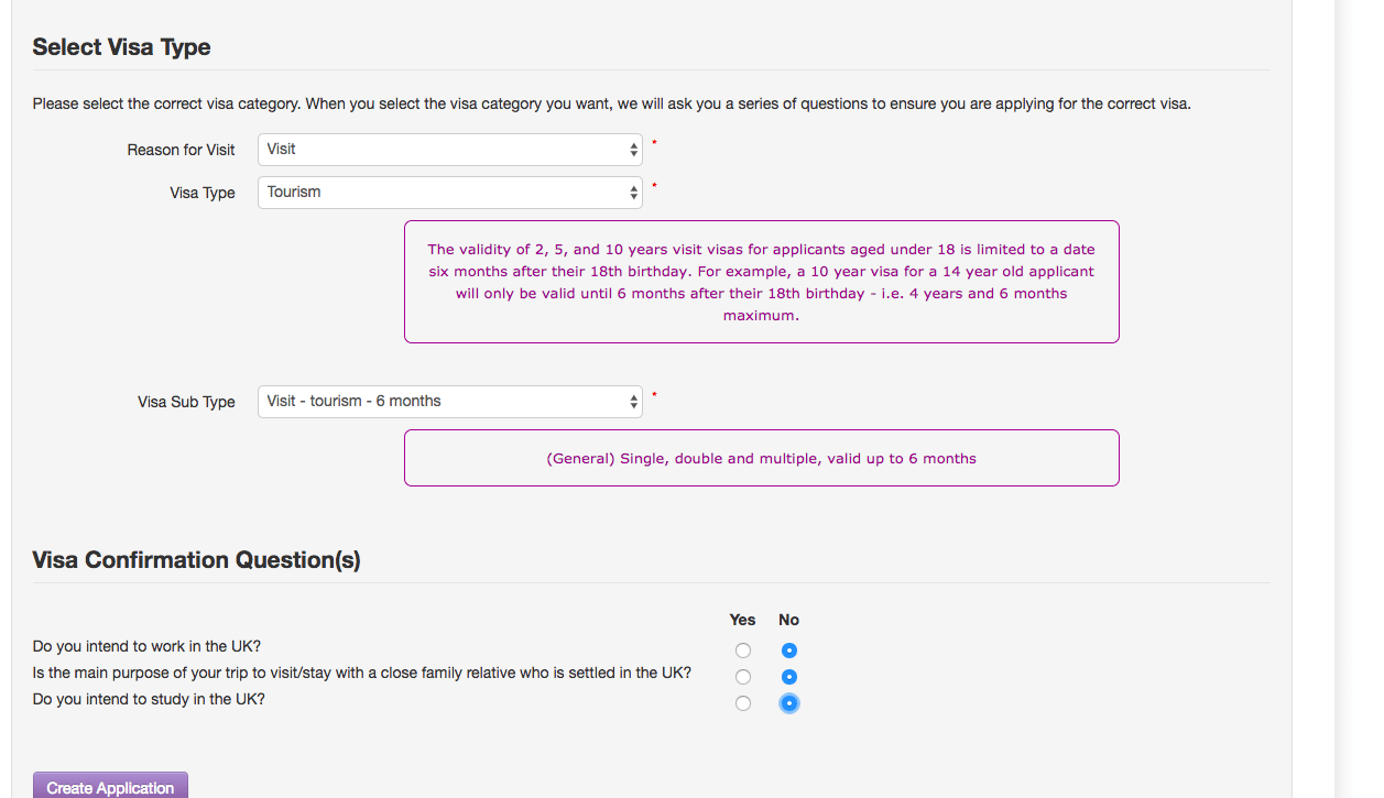 Uk And Ireland Visa (BIVS) Application Form Screenshot