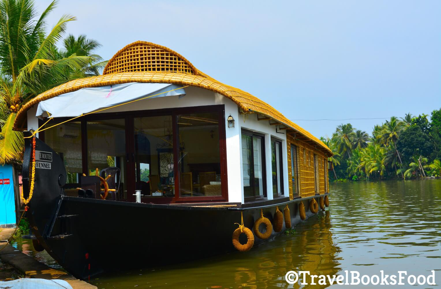This is a picture of a luxury houseboat in Kerala, India