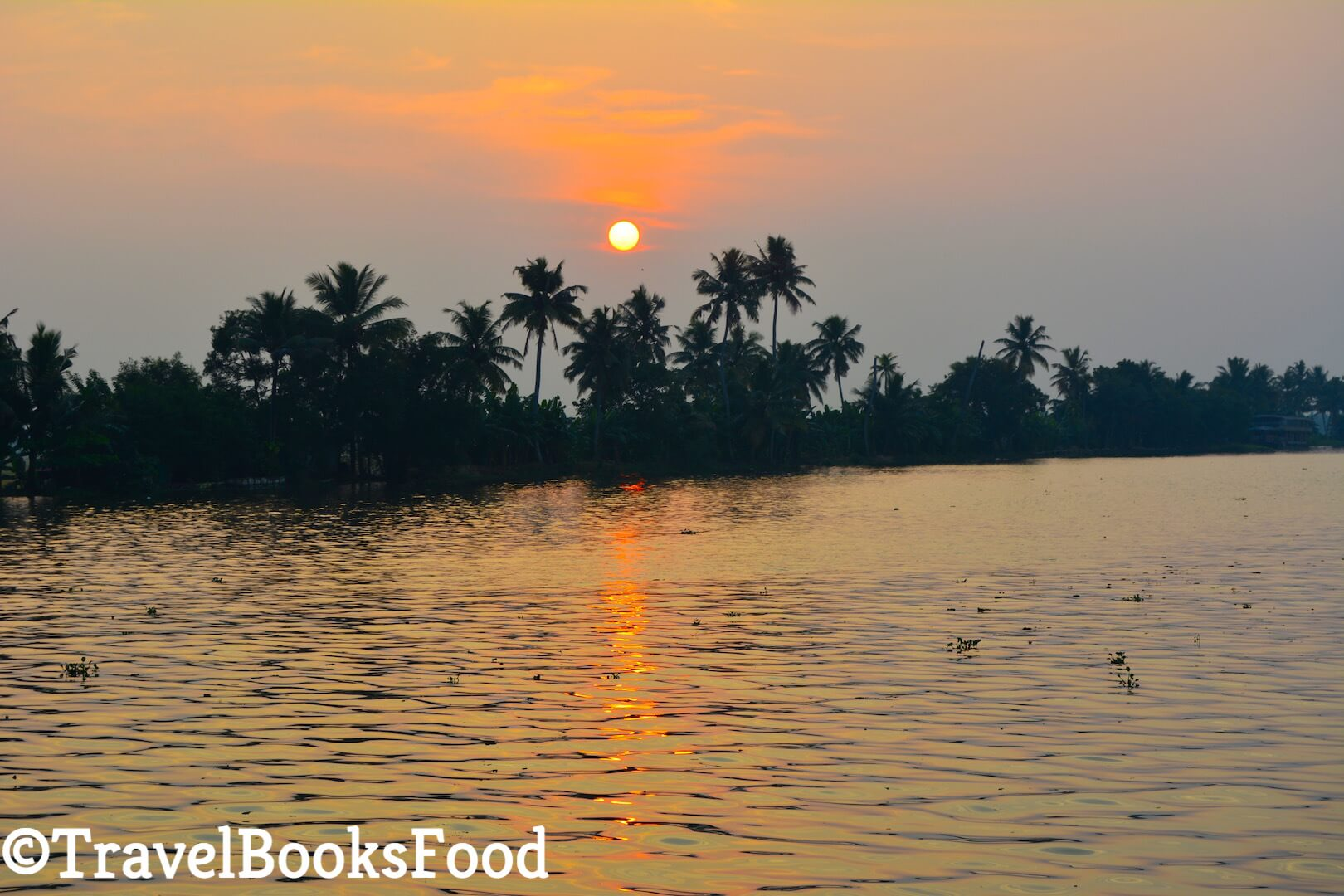 Sunset from a Alleppey Houseboat in Kerala, india