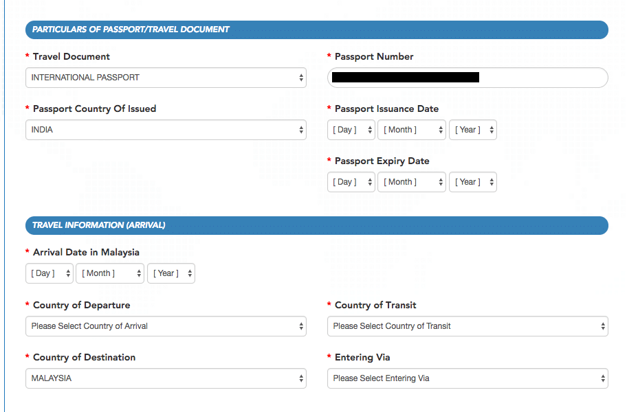 Screenshot of Malaysia Visa for Indians Page