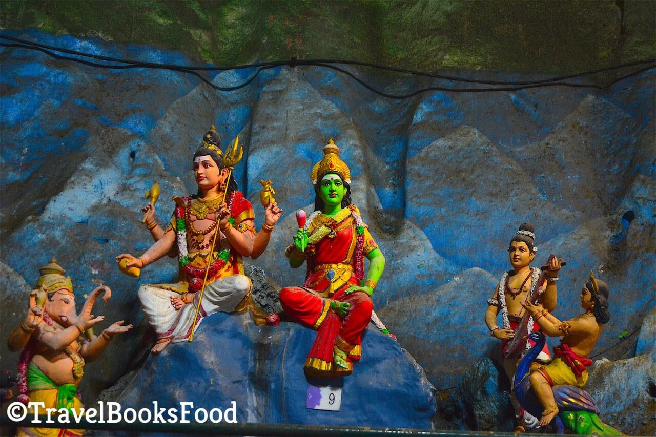 Hindu deities inside the Batu Caves in Malaysia