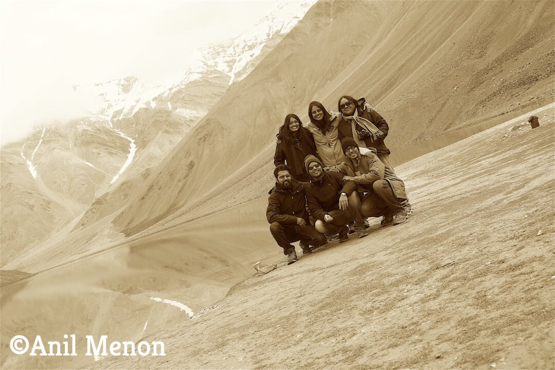 6 of us in front of the lake in sepia