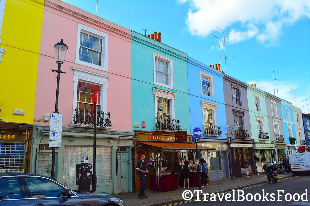 This is a row of bright and colorful houses in Notting Hill, London.
