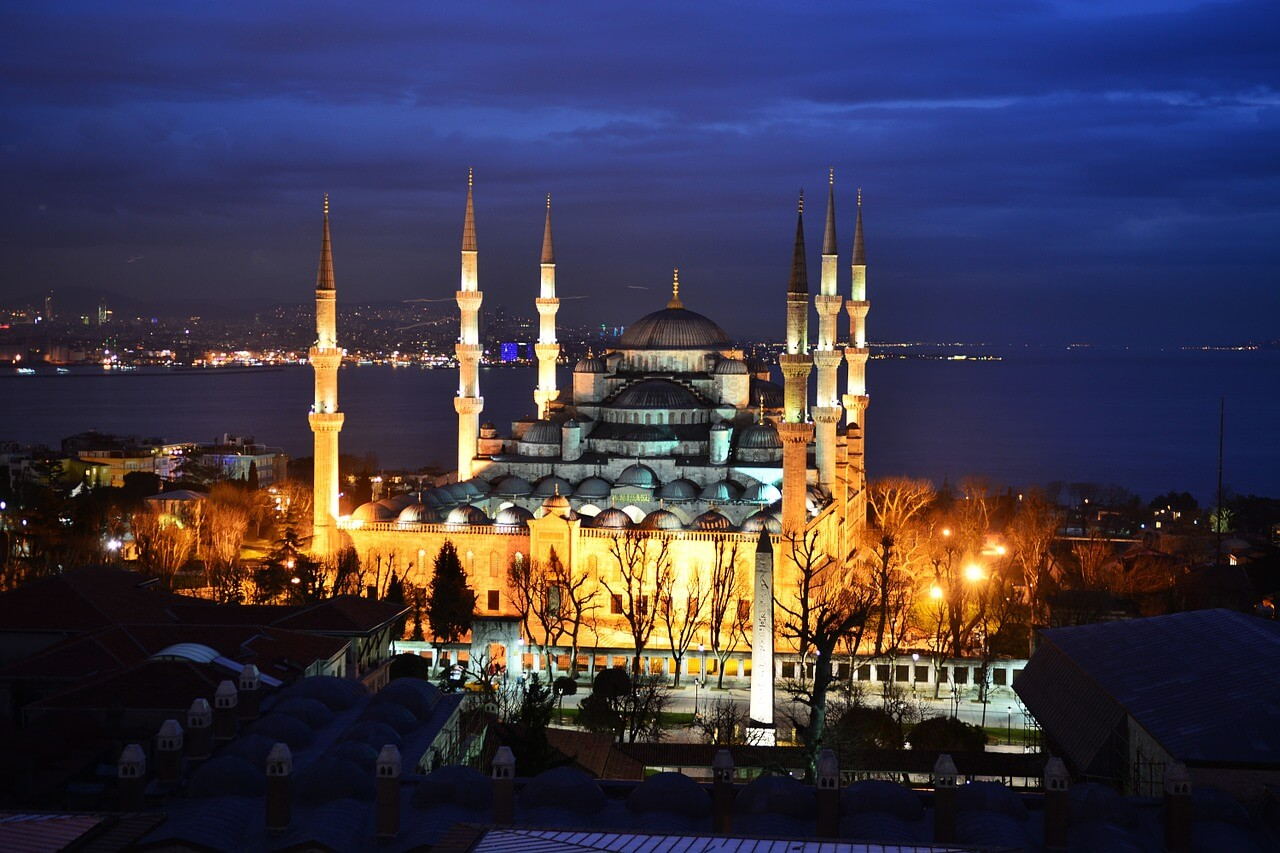 A photo of Hagia Sophia in Istanbul, Turkey at nighttime