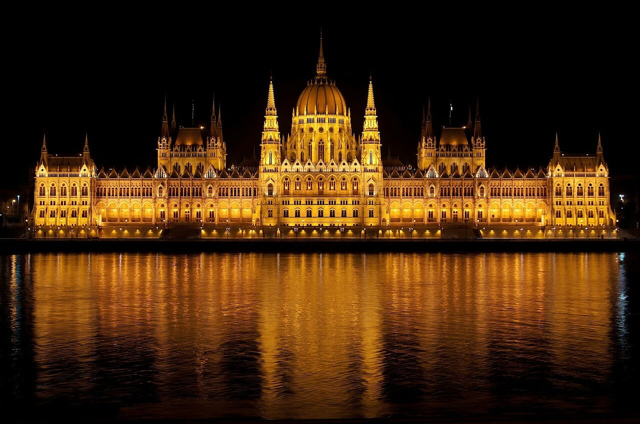A photo of the parliament building in Budapest, Hungary