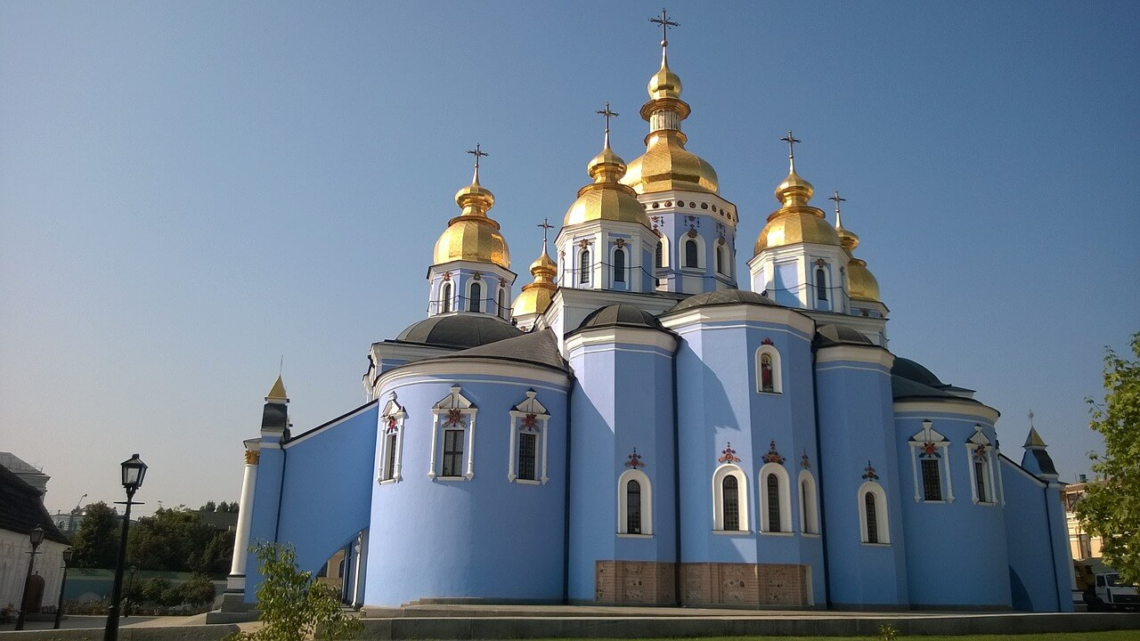St. Michael's Golden-Domed Monastery is a blue church with Golden domes in Kiev, Ukraine