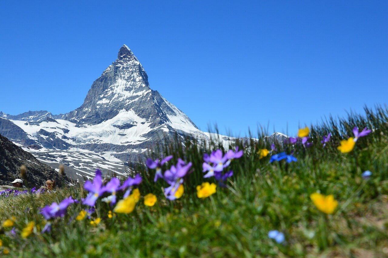 This is the photo of the iconic Matterhorn mountain in Switzerland