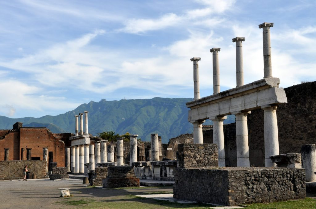A photo of the column ruins in Pompeii