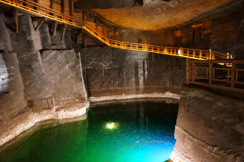 A photo of a lake in a salt mine in Krakow