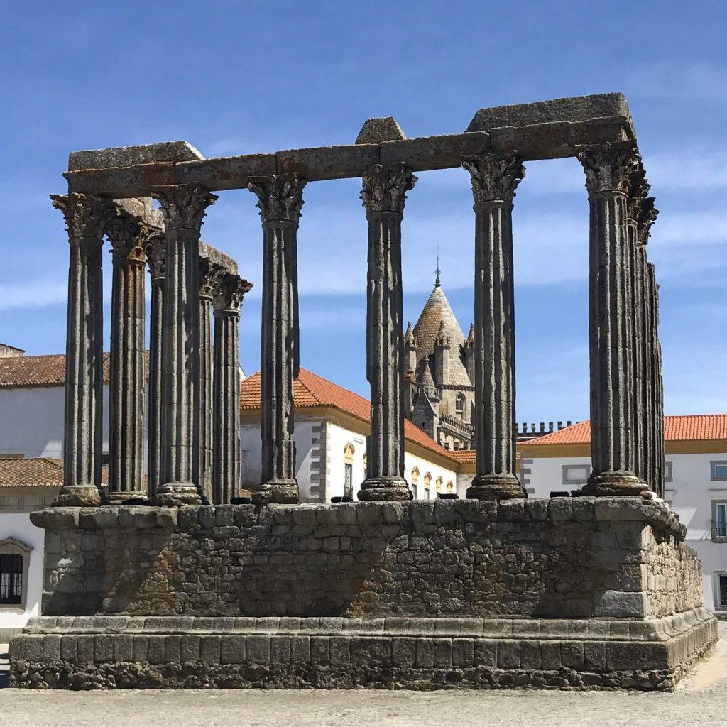 A photo of a Roman temple ruins in Evora