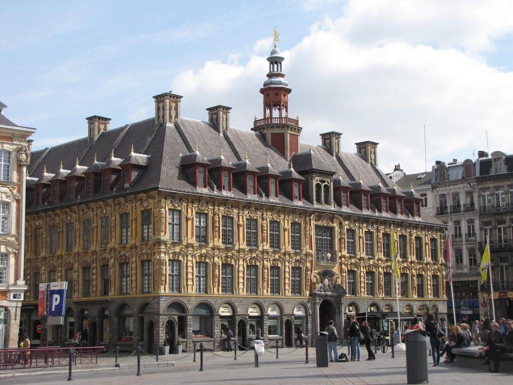 A big building in a square