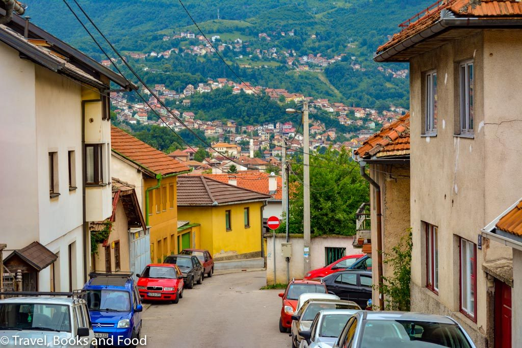 A street in Sarajevo looking down into a valley