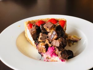 Delicious looking dessert - A pie with strawberries and chocolates - Foodie experiences as a vegetarian traveler