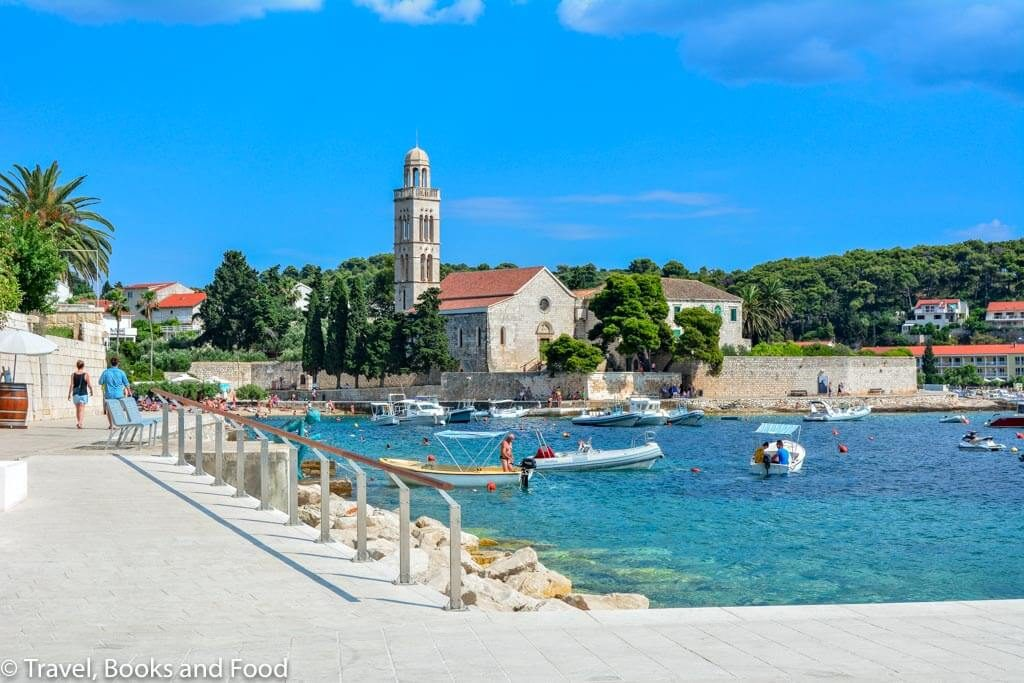 The town of Hvar in Croatia with white buildings and blue beaches