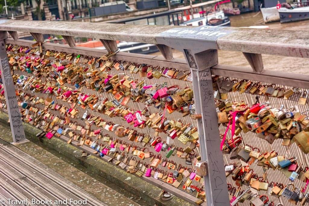 A bridge full of love locks in Paris, France