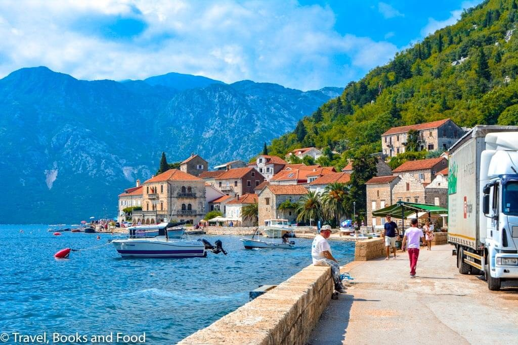 The European settlement of Perast set up against the Adriatic Sea among mountains