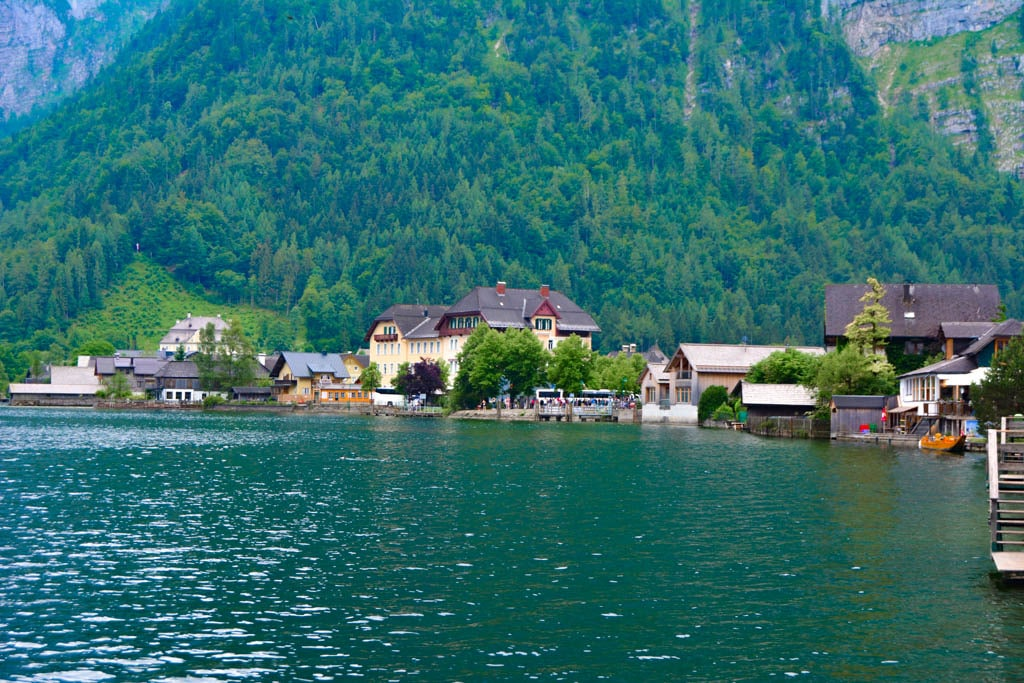 The town of Hallstatt set amidst some gorgeous alps