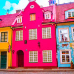 Some of the colourful houses in Riga, Latvia