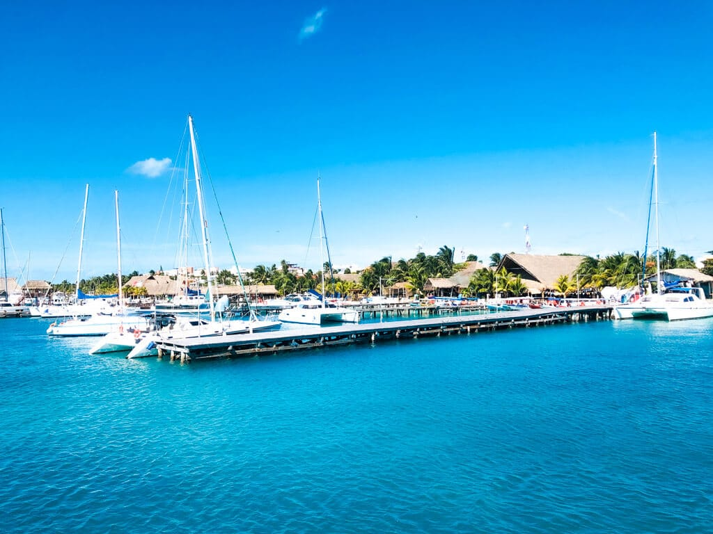 A gorgeous island harbour with blue waters of the Caribbean Sea - Isla Mujeres