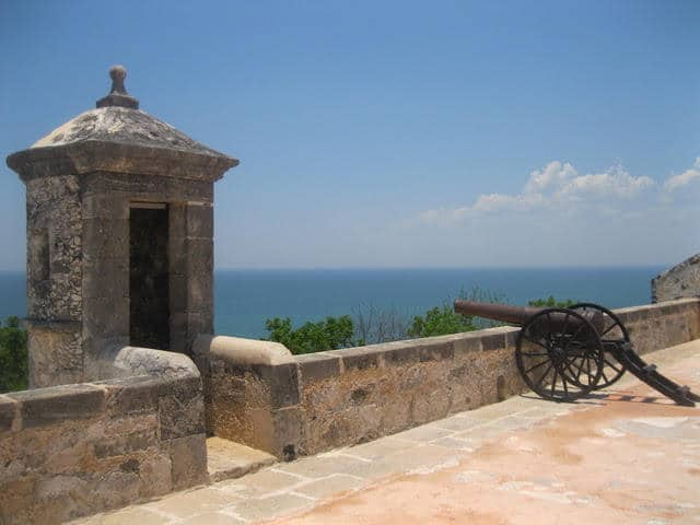 A fortress overlooking a beach in Campeche, Mexico