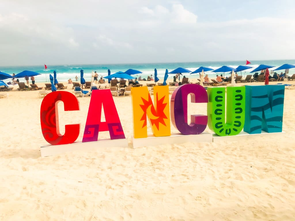 A colorful Cancun sign, one of the most popular destinations in Cancun